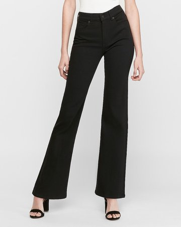 High Waisted Black Slim Flare Stretch Jeans