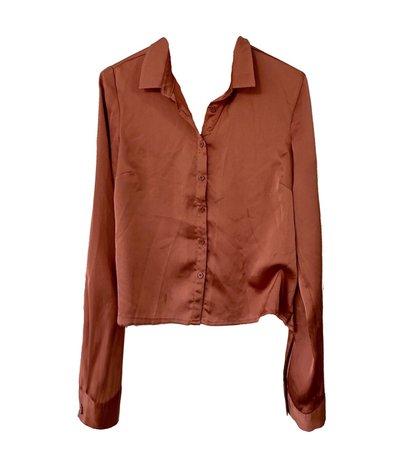 rust satin shirt