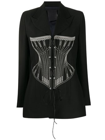 Seen Users Embroidered Corset Blazer SEEN618ABLACK Black | Farfetch