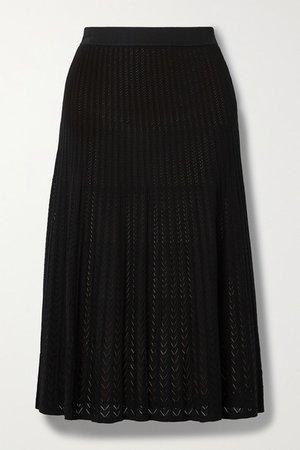 Ribbed Pointelle-knit Midi Skirt - Black