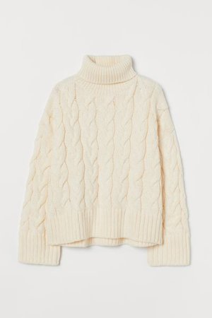 Cable-knit Turtleneck Sweater - Cream - Ladies | H&M US