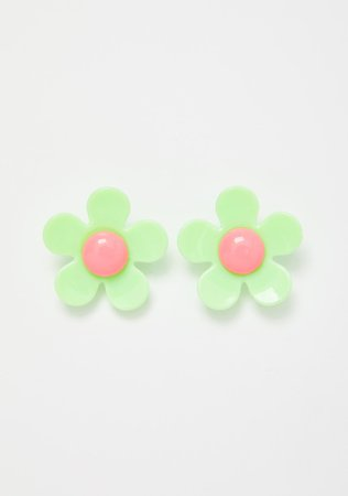Daisy Earrings Green | Dolls Kill