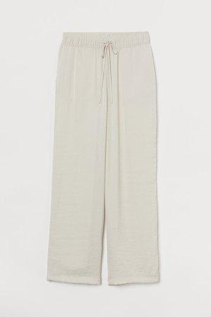 Wide-leg Pull-on Pants - Beige