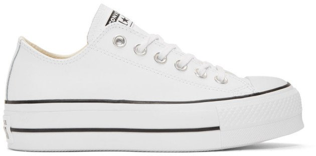 White Leather Chuck Taylor All Star Lift Platform Sneakers