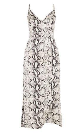 Grey Snake Print Satin Midi Slip Dress   PrettyLittleThing