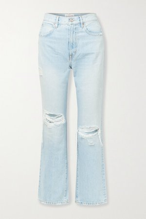 London Cropped Disressed High-rise Straight-leg Jeans - Light denim