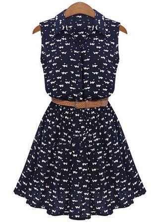 Lapel Cat Print Shirt Dress