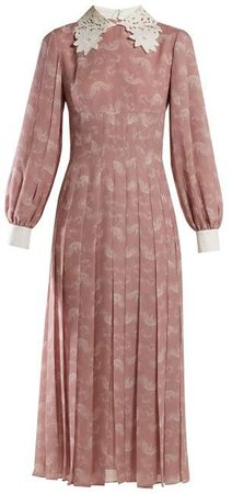 Lace Collar Paisley Print Silk Midi Dress - Womens - Pink Print