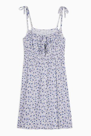 Blue Ruched Ditsy Print Mini Dress | Topshop