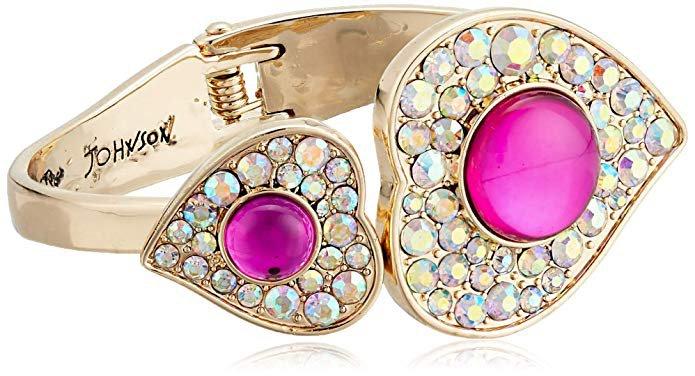 Amazon.com: Betsey Johnson Women's Heart Hinged Bangle Bracelet, Pink, One Size: Gateway