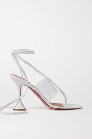 White Zula PVC and leather sandals | Amina Muaddi | NET-A-PORTER