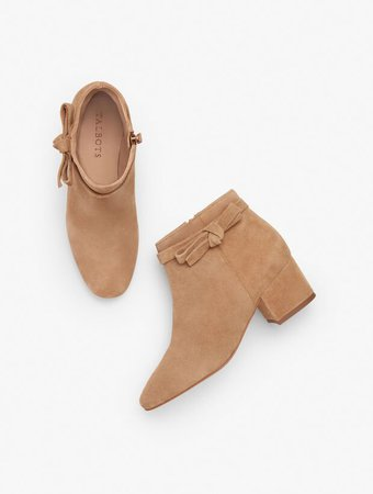Harlow Suede Bow Detail Ankle Boots | Talbots