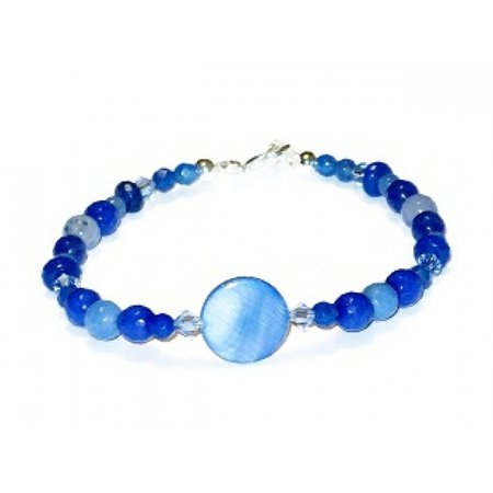 Blue Bracelet with Mother of Pearl Center Bead by AngieShel Designs