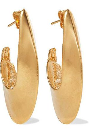 Alighieri | Il Leone 2.0 gold-plated hoop earrings | NET-A-PORTER.COM