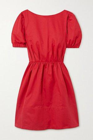 Alix Open-back Cotton-blend Faille Mini Dress - Red
