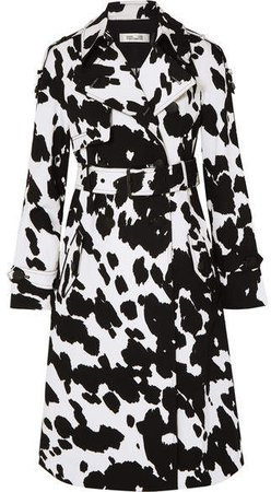 Kaia Printed Stretch-cotton Twill Trench - Black