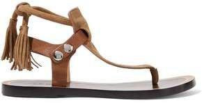 Jemma Leather-trimmed Tasseled Suede Sandals