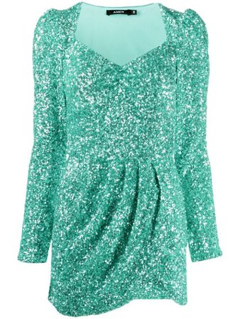 Shop green Amen glitter effect mini dress with Express Delivery - Farfetch
