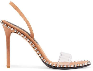 Nova Studded Leather And Pvc Slingback Sandals - Neutral