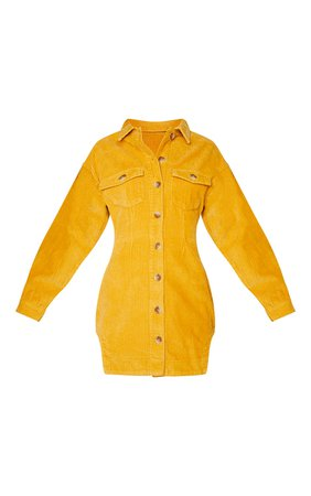 Tan Cord Button Through Long Sleeve Dress   PrettyLittleThing USA