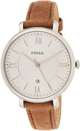 Fossil Women's Jacqueline Quartz Stainless Steel and Leather Casual Watch, Color: Silver-Tone, Brown (Model: ES3708): Fossil: Watches