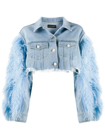 David Koma feather-trimmed Cropped Denim Jacket - Farfetch