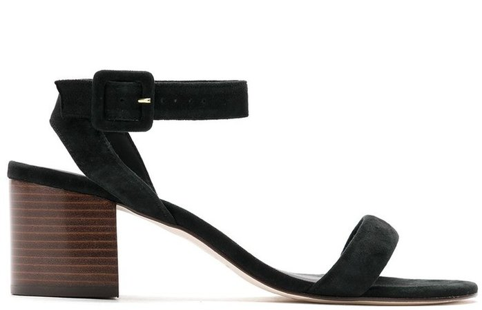Block-Heeled Suede Sandals