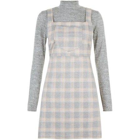 Blue Vanilla Pink 2 in 1 Check Pinafore Dress