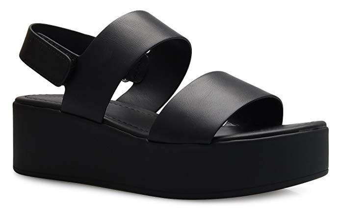 Amazon.com | OLIVIA K Women's Platform Buckle Sandal - Open Peep Toe Fashion Chunky Ankle Strap Shoe, Black, 7 B(M) US | Platforms & Wedges