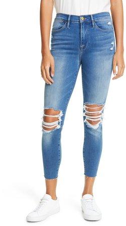 Ripped High Waist Raw Hem Crop Skinny Jeans