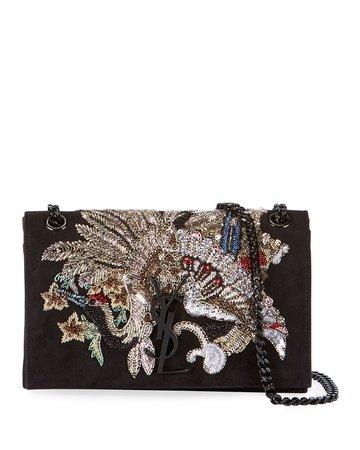 Saint Laurent Kate Small Monogram YSL Suede Crossbody Bag with Beaded Peacock   Neiman Marcus