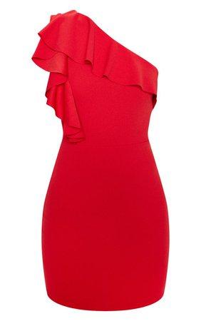 Scarlet One Shoulder Frill Detail Bodycon Dress | PrettyLittleThing