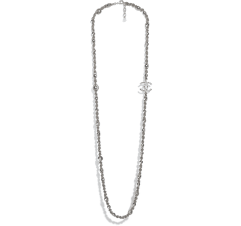 Long Necklace, metal, glass pearls & strass, silver, gray & pearly gray - CHANEL