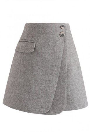Double Flap Wool-Blend Mini Skirt in Grey - Skirt - BOTTOMS - Retro, Indie and Unique Fashion