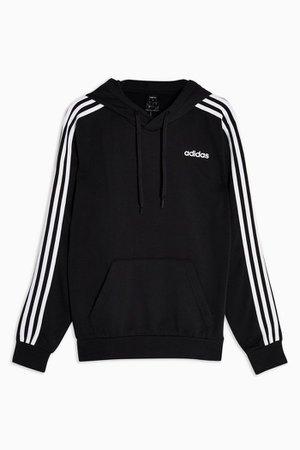 Black Three Stripe Hoodie by adidas | Topshop