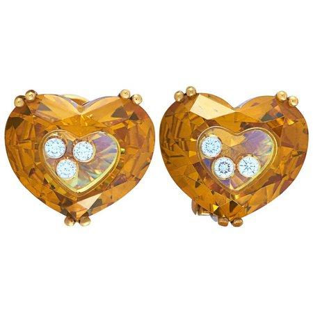 Chopard So Happy 18 Karat Gold 6 Floating Diamonds Heart Omega Back Earrings