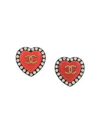 chanel heart earring