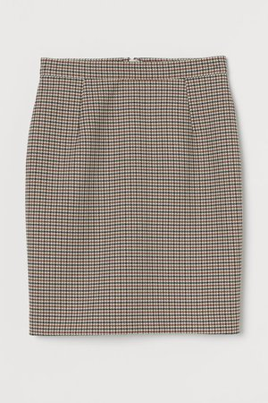 Short Pencil Skirt - Cream/houndstooth-patterned - Ladies | H&M US