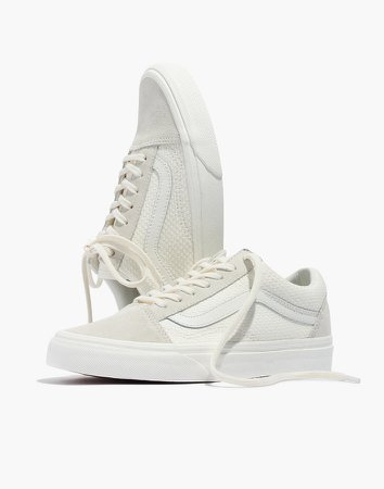 Vans Unisex Old Skool Lace-Up Sneakers in White Suede and Canvas
