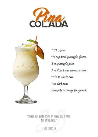 Cocktail - Pina Colada with th... by Swav Cembrzynski | metal posters in 2019 | Drinks | Drinks alcohol recipes, Alcholic drinks, Easy drink recipes