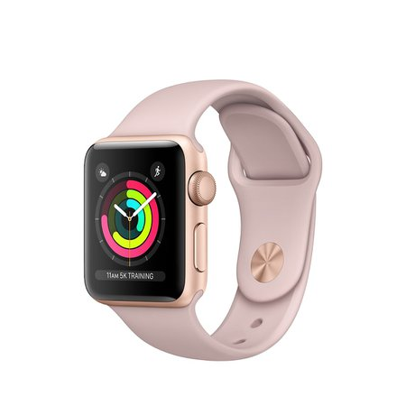 Refurbished Apple Watch Series 3 GPS, 38mm Gold Aluminum Case with Pink Sand Sport Band - Apple