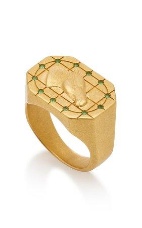 Horse Grid II Gold Signet Ring by Tenet Jewelry | Moda Operandi