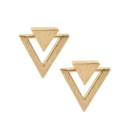 Amazon.com: chelseachicNYC Handcrafted Brushed Metal Two Triangle Stud Earrings (Gold): Jewelry