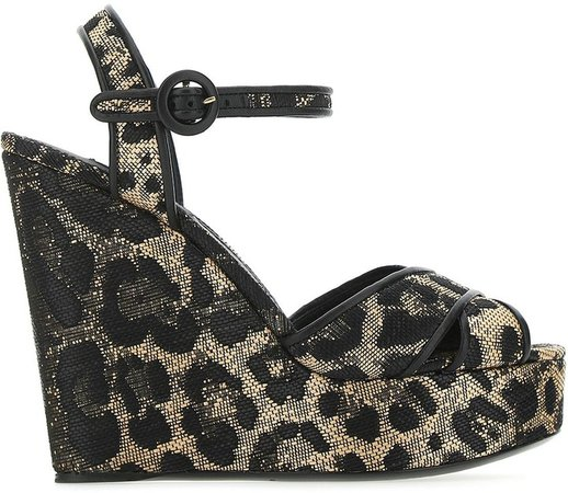Dolce & Gabana Jacquard Wedge Sandals