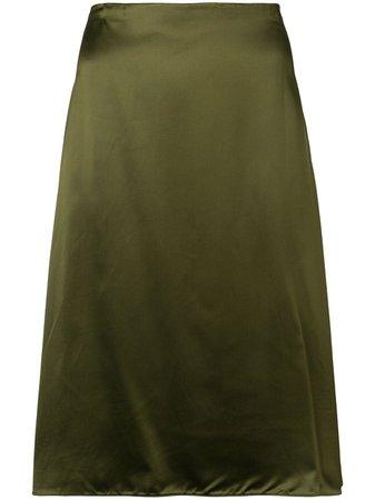 Jil Sander Olive A-Line Midi Skirt