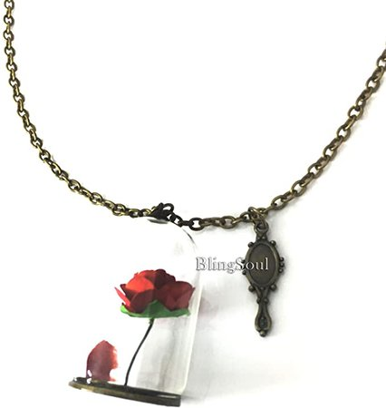 Amazon.com: Beauty Rose Necklace Jewelry - Beast Belle Rose Glass Necklace Merchandise for Women: Clothing