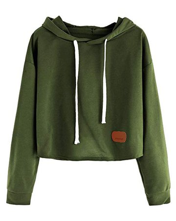 Maybest Women Autumn Fashion Hoodies Long Sleeves Shirts Sweatershirt Crop Top Pullover Sports Tops Sweater Green One Size at Amazon Women's Clothing store