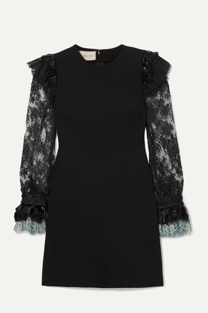 Black Vinyl and lace-trimmed cady mini dress | Gucci | NET-A-PORTER