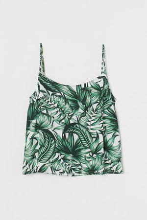 Viscose Tank Top - Green/leaves - Ladies | H&M US