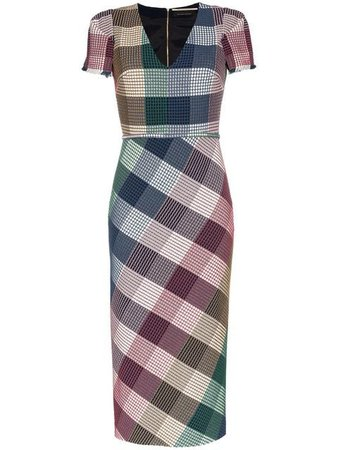 ROLAND MOURET Chaney stretch check print fitted dress